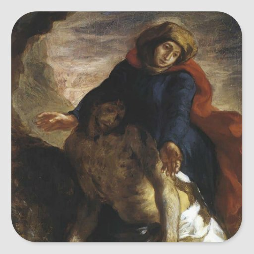 Eugene Delacroix- Pietà Pegatina Cuadrada