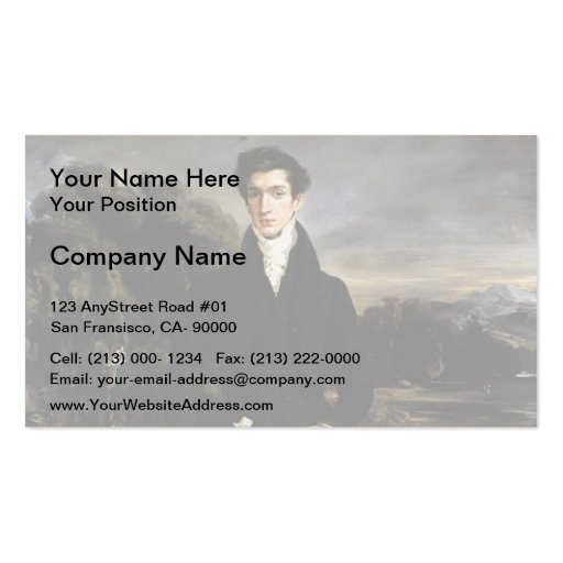 Eugene Delacroix- Portrait of Baron Schwiter Business Card Template