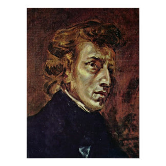 Eugene Delacroix - Portrait of Frederic Chopin Poster