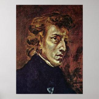 Eugene Delacroix - retrato de Federico Chopin Póster