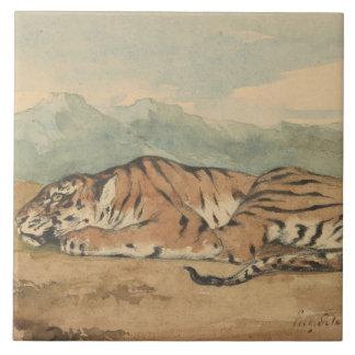 Eugene Delacroix - tigre real Azulejo Cuadrado Grande
