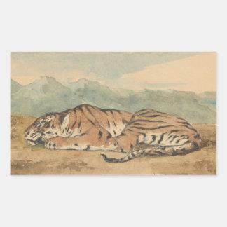 Eugene Delacroix - tigre real Pegatina Rectangular