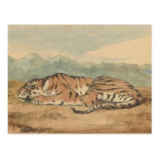Eugene Delacroix - tigre real Postal