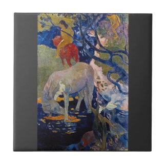 Eugène Enrique Paul Gauguin - el caballo blanco Azulejo Cuadrado Pequeño