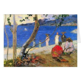 Eugène Enrique Paul Gauguin - escena de la playa Tarjeta Pequeña