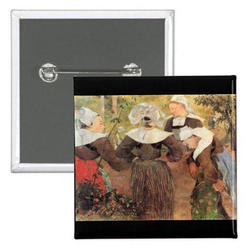 Eugène Enrique Paul Gauguin - la danza de 4 mujere Pins