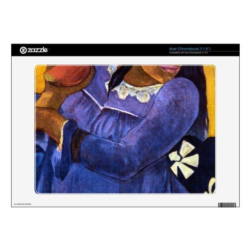 Eugène Enrique Paul Gauguin - mujer con el mango Acer Chromebook Calcomanías