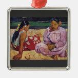 Eugène Enrique Paul Gauguin - mujeres de Tahitian  Ornamentos De Reyes Magos