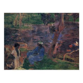 Eugène Enrique Paul Gauguin - orilla de la charca Postal