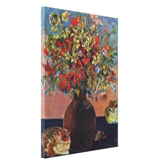 Eugene Henri Paul Gauguin - flowers and cats Canvas Print