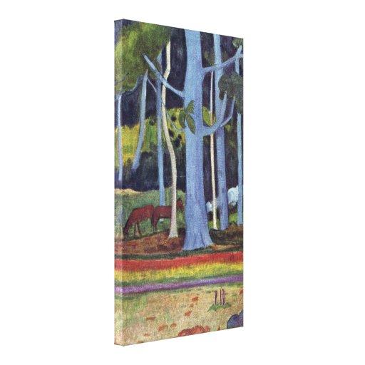 Eugene Henri Paul Gauguin - Landscape in Tahiti Stretched Canvas Print