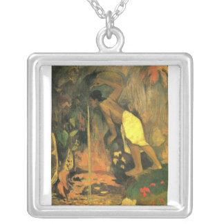 Eugène Henri Paul Gauguin - Mysterious Source Square Pendant Necklace