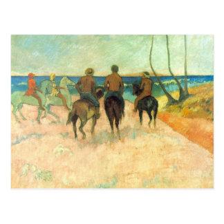 Eugène Henri Paul Gauguin - Riding on the Beach Postcard