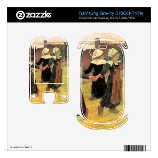 Eugène Henri Paul Gauguin - Small Breton Women Samsung Gravity 3 Decals