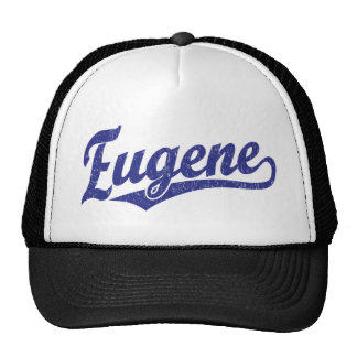 Eugene script logo in blue trucker hat