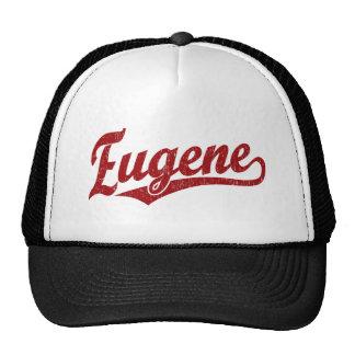 Eugene script logo in red trucker hat