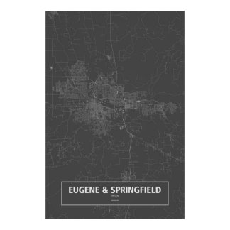 Eugene & Springfield, Oregon (white on black) Poster