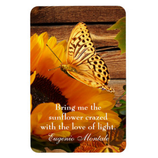 Eugenio Montale Quote Magnet Rustic Fall Sunflower