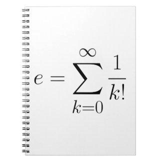 Euler's number series spiral notebook