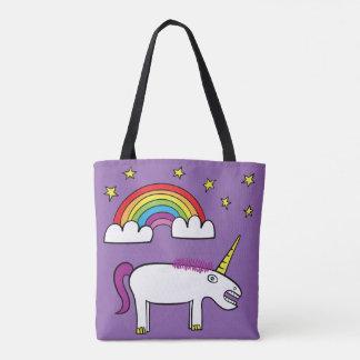 Eunice el unicornio - todo encima - imprima la bolsa de tela