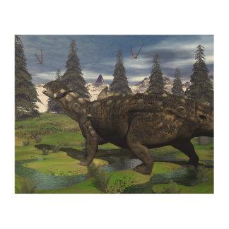 Euoplocephalus dinosaur - 3D render Wood Print