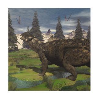 Euoplocephalus dinosaur - 3D render Wood Wall Art