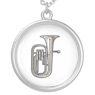 euphonium brass instrument music realistic.png silver plated necklace