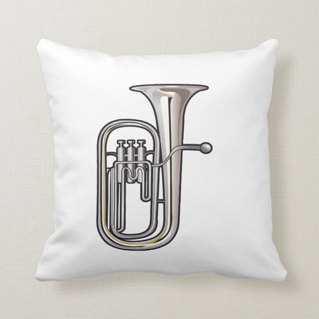 euphonium brass instrument music realistic.png throw pillow