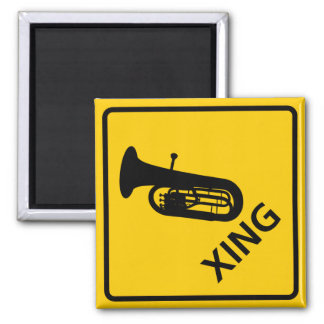 Euphonium Crossing Highway Sign 2 Inch Square Magnet