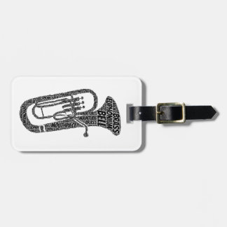Euphonium Shaped Word Art Black Text Tag For Bags