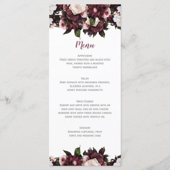 Euphoria Burgundy and Pink Floral Bouquet Wedding Menu