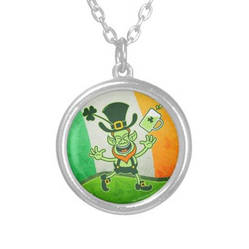 Euphoric Leprechaun Celebrating St Patrick's Day Personalized Necklace