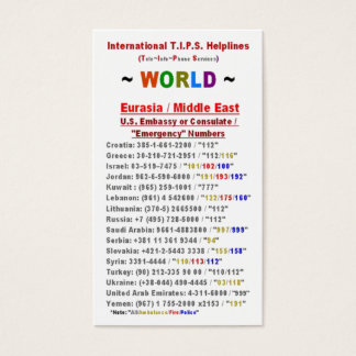 Eurasia / Middle East T.I.P.S. Helplines Business Card