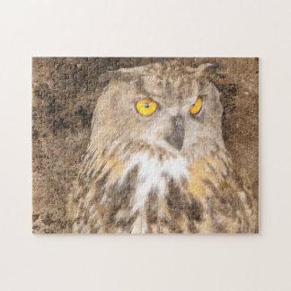 Eurasian Eagle Grunge Owl Jigsaw Puzzle