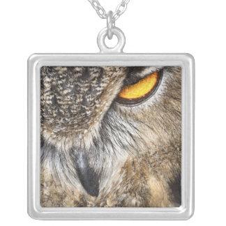 Eurasian Eagle Owl (Bubo bubo) Silver Plated Necklace