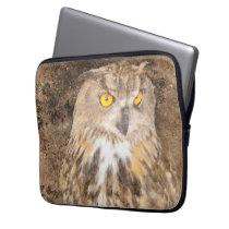 Eurasian Eagle Owl Grunge Computer Sleeve