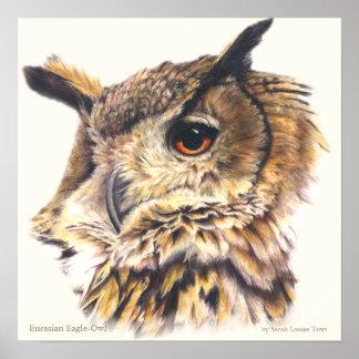 Eurasian Eagle Owl Ornithological fine art poster