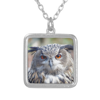 Eurasian Eagle-Owl, Uhu Square Pendant Necklace