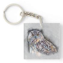 Eurasian Eagle Owl Watercolor Portrait Keychain