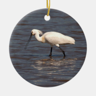 Eurasian Spoonbill Double-Sided Ceramic Round Christmas Ornament