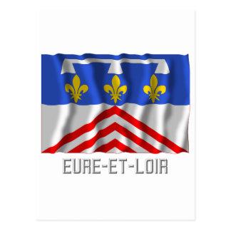 Eure-et-Loir que agita la bandera con nombre Tarjetas Postales