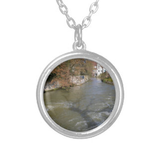 Eure river at Chartres in France Round Pendant Necklace