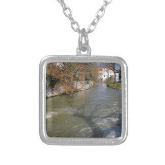 Eure river at Chartres in France Square Pendant Necklace