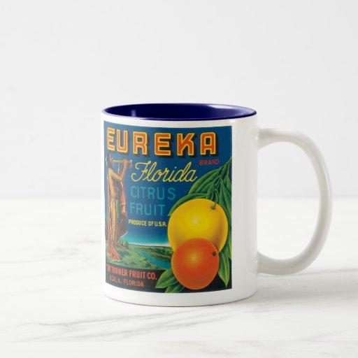 Eureka Brand Florida Citrus Fruit Two-Tone Coffee Mug
