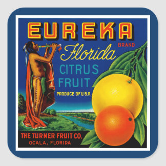 Eureka Florida Citrus Square Sticker