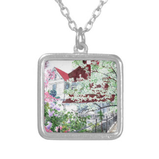 Eureka Springs Victorian House Silver Plated Necklace
