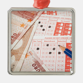 Euro and sports betting slip metal ornament