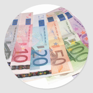 Euro bank notes classic round sticker