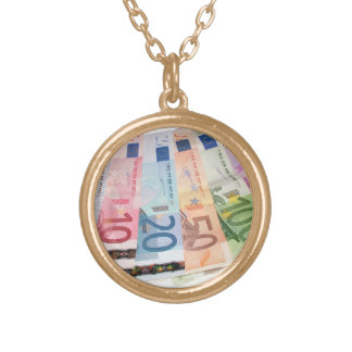 Euro bank notes gold plated necklace