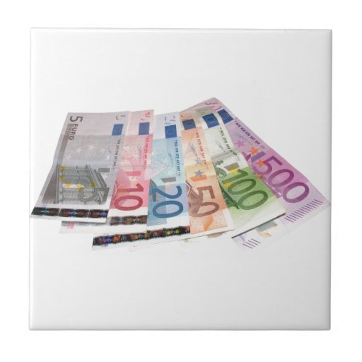 Euro bank notes small square tile